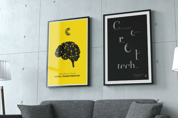wall posters printed and framed in office lobby